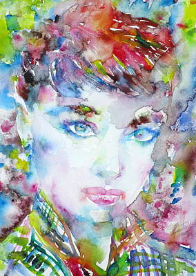 Painting - Audrey Hepburn  Watercolor Portrait.12 by Fabrizio Cassetta