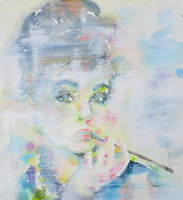 Painting - Audrey Hepburn - Watercolor Portrait.16 by Fabrizio Cassetta