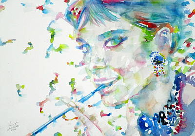 Painting - Audrey Hepburn - Watercolor Portrait.17 by Fabrizio Cassetta