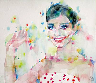 Painting - Audrey Hepburn - Watercolor Portrait.19 by Fabrizio Cassetta