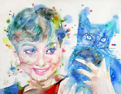 Painting - Audrey Hepburn - Watercolor Portrait.21 by Fabrizio Cassetta