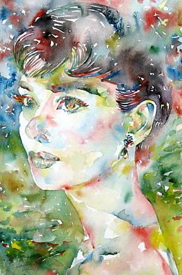 Audrey Hepburn  Watercolor Portrait.4 Original by Fabrizio Cassetta