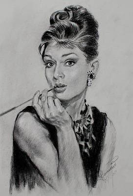 Icons Drawing - Audrey Hepburn by Ylli Haruni