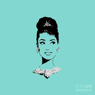 Audrey In Tiffany Blue Art Print by Rene Flores