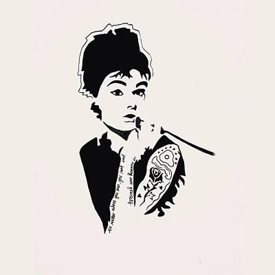 Audrey Hepburn Drawing - Audrey by Kortni Tagudar