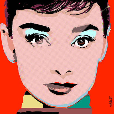 Old Hollywood Digital Art - Audrey Pop Red by Janine Hoffman