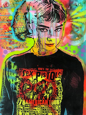 Mixed Media - Audrey Sex Pistols by Dean Russo