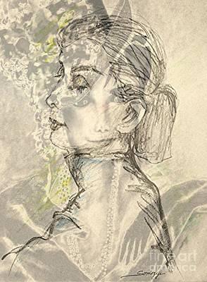 Audrey Two -- Portrait Of Audrey Hepburn Art Print