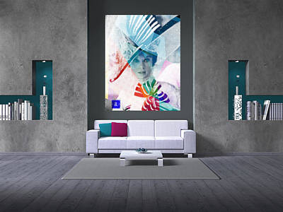 Private Room Digital Art - Audrey With Hat On A Wall by Begonia Lafuente