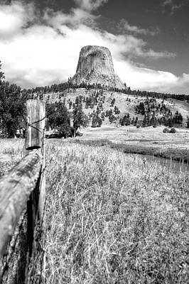 Beach Landscape Mixed Media - August At Wyoming Devils Tower 02 Vertical Bw by Thomas Woolworth