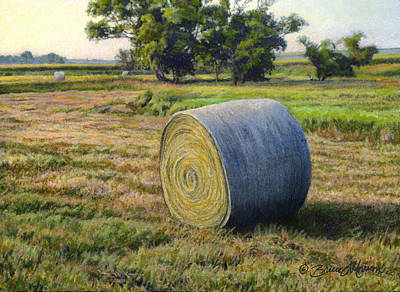 Bales Drawing - August Bale Study No.1 by Bruce Morrison