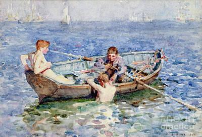 Sunbathing Painting - August Blue by Henry Scott Tuke