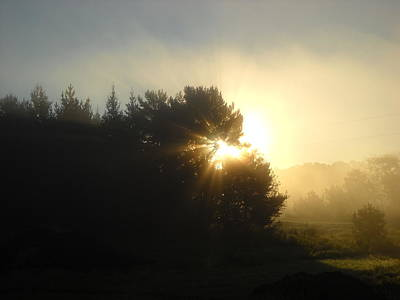 Photograph - August Fog Sunrise Light Rays by Kent Lorentzen