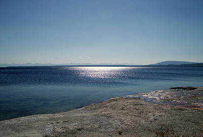 Yellowstone Mixed Media - August High Noon Yellowstone Lake 01 by Thomas Woolworth