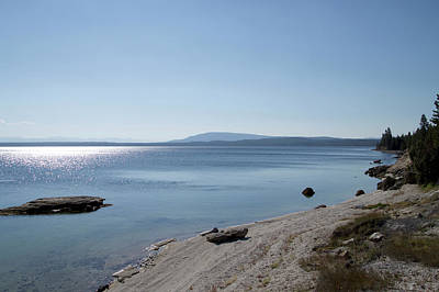 Yellowstone Mixed Media - August High Noon Yellowstone Lake 02 by Thomas Woolworth