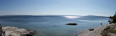 Yellowstone Mixed Media - August High Noon Yellowstone Lake Panorama by Thomas Woolworth