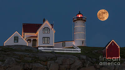 Photograph - August Moon Over Nubble Lighthouse by Jerry Fornarotto