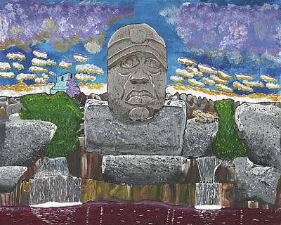 August  Olmec Head Art Print