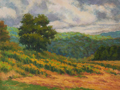 Light Goldenrod Painting - August Storm Clouds by Keith Burgess