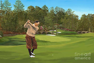 Amen Corner Painting - Augusta 11 And 12th Hole Bobbyjones by Tim Gilliland