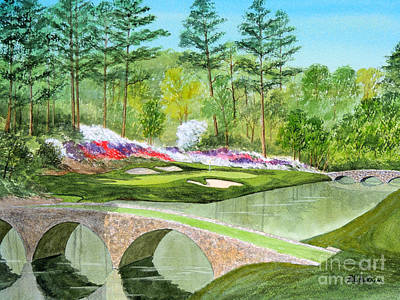 Golf Art Painting - Augusta National Golf Course 12th Hole by Bill Holkham