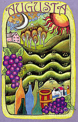 Wine Grapes Drawing - Augusta Winery Poster by Genevieve Esson