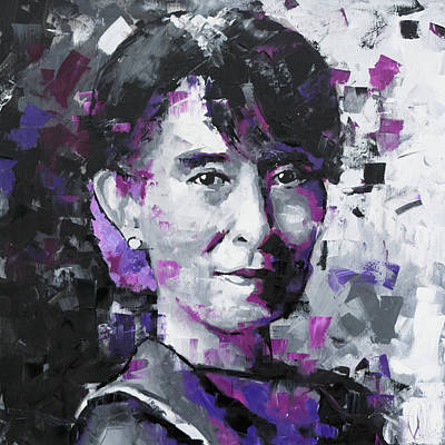 Painting - Aung San Suu Kyi by Richard Day