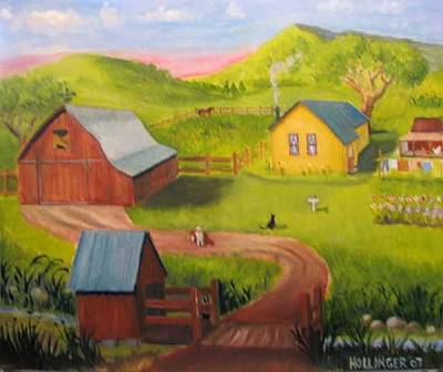 Painting - Aunt Clara's Farm by Mary Hollinger