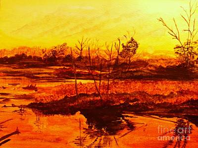 Beach Landscape Drawing - Auntumn Sunset Over Lake Lady Ann by Barbara Donovan