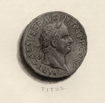 Flavius Drawing - Aureus Coin From The Era Of Titus by Vintage Design Pics
