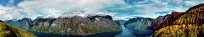 Aurlandsfjorden Panorama Revisited Art Print