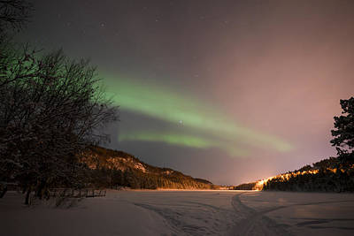 Pro Mixed Media - Aurora Above Kvenvik Lake2 by Helge Larsen