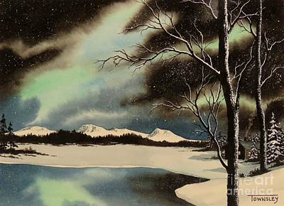 Painting - Aurora And Cabin by Frank Townsley