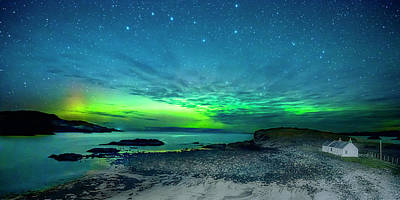 Photograph - Aurora And Plough Over Clashnessie Bay by Chris Puddephatt