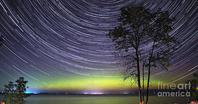 Startrails Photograph - Aurora And Star Trails Over Lake Simcoe by Charline Xia