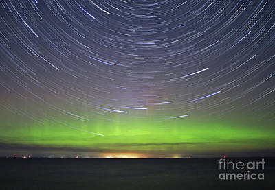 Photograph - Aurora And Startrails by Charline Xia