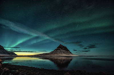Photograph - Aurora And Sunset At Kirkjufell by James Billings