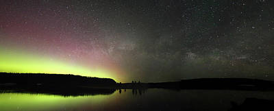 Photograph - Aurora Borealis And Milky Way Over Yellowstone River by Jean Clark