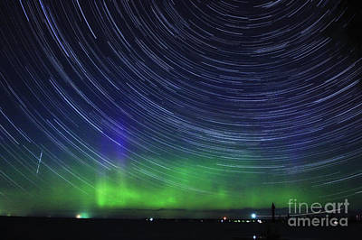 Photograph - Aurora Borealis And Star Trails by Charline Xia