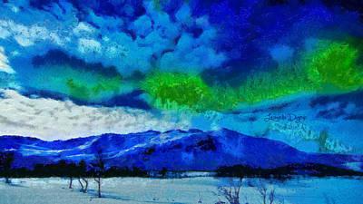 Dark Green Digital Art - Aurora Borealis - Da by Leonardo Digenio