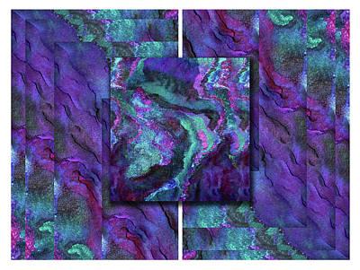 Mixed Media - Aurora Borealis Geometry Square by Marina Schkolnik