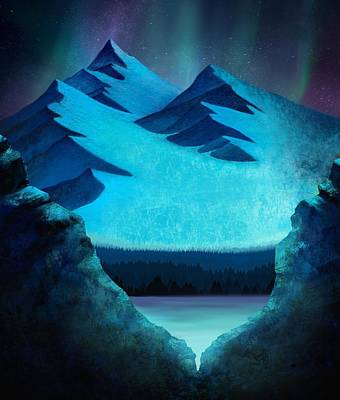 Ice Climbing Painting - Aurora Borealis In The Mountain Pass by Little Bunny Sunshine