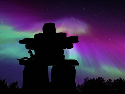 Photograph - Aurora Borealis - Inukshuk - Northern Lights  by Andrea Kollo