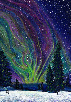 Winter Night Drawing - Aurora Borealis by Jessica Ritenour