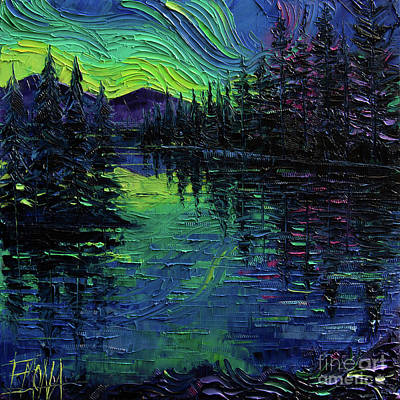 Painting - Aurora Borealis Mirage Textural Impressionist Impasto Landscape Palette Knife Oil Painting by Mona Edulesco