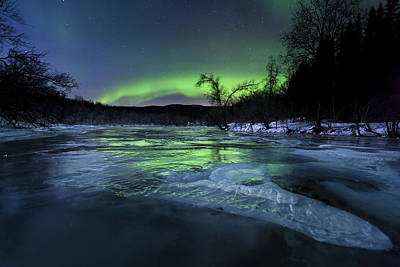 Aurora Borealis Over A Frozen Kvannelva Art Print