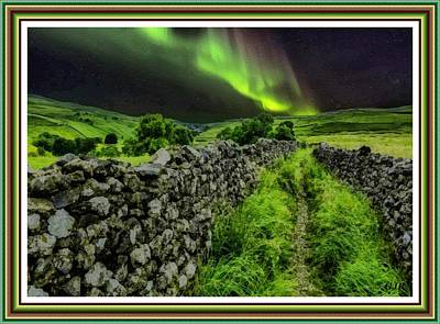 Transportation Digital Art - Aurora Borealis Over A Green Field L A S WIth Decorative Ornate Printed Frame by Gert J Rheeders