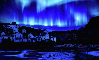 Photograph - Aurora Borealis Over Staithes, Yorkshire by Pixabay