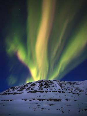 Landscape In Norway Photograph - Aurora Borealis Over Toviktinden by Arild Heitmann