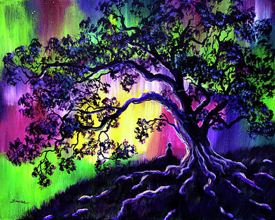 Tree Root Painting - Aurora Borealis Tree Of Life Meditation by Laura Iverson
